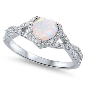 .925 Sterling Silver White Opal CZ Heart Ring